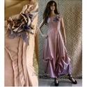 VALERIE - designruha XL, Ruha, divat, cipő, Női ruha, Estélyi ruha, Esküvői ruha, Különleges megjelenésű modellemet púderes mályva-színre festettem.  Anyaga selymes felületű, taftosa..., Meska