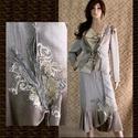 JUSZTINA-kosztüm, Esküvő, Ruha, divat, cipő, Női ruha, Kosztüm, Festett tárgyak, Varrás, Metál-szálas háromrészes öltözet:  Különleges fémszálas selyemből készítettem és kézzel foltocskása..., Meska
