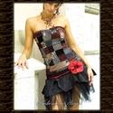 GABRIELLA - patchwork koktélruha, Ruha, divat, cipő, Női ruha, Ruha, Estélyi ruha, Különleges,bohókás, apró darabokból összeállított ruha-derék taftfodros-tüllös szoknyarésszel, dísz-..., Meska