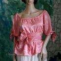 RÓZSASZÍN selyemblúz, Ruha, divat, cipő, Esküvő, Női ruha, Ruha, Élénk-rózsaszín, szép esésű jacquard selyemből készítettem ezt a romantikus, 3/4-es ujjú blúzomat. A..., Meska