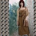 SHANTUNG ruha stólával, Ruha, divat, cipő, Női ruha, Estélyi ruha, Esküvői ruha, Nemesen-elegáns modell különleges alkalmakra: gyönyörű aranybarna selyem-shantungból készítettem azt..., Meska