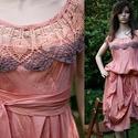 PILLERUHA / selyemruha , Esküvő, Ruha, divat, cipő, Női ruha, Ruha, Lazac színű finom átmenetesre kézzel festett pille-könnyű acetátselyem-ruha antik horgolással. Az eg..., Meska
