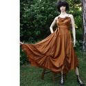 PILLERUHA  - exkluzív selyemruha, Esküvő, Ruha, divat, cipő, Női ruha, Estélyi ruha, Gyönyörű rozsdabarna színű finom hernyóselyem-shantungból terveztem ezt a modellem. Az egyszerű A-vo..., Meska