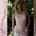 RÓZSA - csipketop, Ruha, divat, cipő, Esküvő, Női ruha, Blúz, Egy különleges darab a romantika jegyében! Rózsaszínnel átmenetesen kézzel festett, gyöngyözött , ex..., Meska