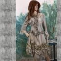 BETTINA - vintage design kétrészes ruha, Ruha, divat, cipő, Női ruha, Szoknya, Puha, homokszínű, jó tartású selyemből és vintage csíkos pamutszövetből készült ez a romantikus mode..., Meska