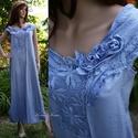 IRENE - iparművész selyemruha XL, Gyönyörű ég-kékre kézzel festett selyemruhá...