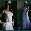 MARY - menyasszonyi ruha, Esküvő, Ruha, divat, cipő, Menyasszonyi ruha, Esküvői ruha, Félvállas, francia-csipke csipketopból, bohém szoknyácskából és selyem alsószoknyából álló kreációm ..., Meska