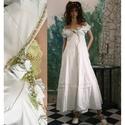 VERONIKA - menyasszonyi ruha, Ruha, divat, cipő, Esküvő, Menyasszonyi ruha, Női ruha, Romantikus , egyedi ruha puha selyemből, különleges szabással, színezéssel, applikációval.  Mérete M..., Meska
