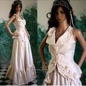 ADELE - menyasszonyi ruha, Ruha, divat, cipő, Esküvő, Esküvői ruha, Menyasszonyi ruha, Tojáshéj-színű hernyóselyem taftból készült, egyedi applikációval készült modellem: Mellényke + fodr..., Meska