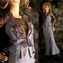 SPANDEX SELLŐ - szett, Képzőművészet, Ruha, divat, cipő, Textil, Női ruha, Lágy kék spandex-ből  terveztem ezt a vintage stílusú nőies kétrészest. A mellény reverje szalagos t..., Meska