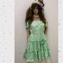 MILA- selyemruha - lolita style , Esküvő, Ruha, divat, cipő, Női ruha, Estélyi ruha, Látványos intenzív zöld színű, puha selyemből készült  romantikus ruhácska. A derék bősége behúzott,..., Meska