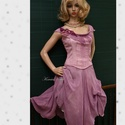 GEORGINA - pin-up design-ruha, Ruha, divat, cipő, Női ruha, Ruha, Estélyi ruha, Mályva-lila kézzel festett pamutruha elasztikus pamutvászon fűzős míder és vastagabb gézesen szőtt s..., Meska