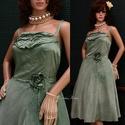"""MILLY - pin-up designruha XL, Ruha, divat, cipő, Női ruha, Estélyi ruha, Ruha, Klasszikus pin-up szabású modellemet """"márványosan"""" zöld árnyalatra kézzel festett,  tompa fényű visz..., Meska"""