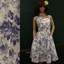 MILLY - pin-up designruha XL, Ruha, divat, cipő, Női ruha, Ruha, Klasszikus pin-up szabású modellemet különlegesen szép rózsa-mintás, puha lenvászonból készítettem. ..., Meska