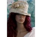 """SOPHIA - antikolt brokát kalap, Ruha, divat, cipő, Női ruha, Kendő, sál, sapka, kesztyű, Sapka, Gyönyörű antik-mintás bútorbrokátból terveztem és kézi festéssel tovább """"antikoltam""""  ezt az öblös t..., Meska"""