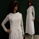 TILDA - csipkeujjú menyasszonyi ruha, Esküvő, Ruha, divat, cipő, Menyasszonyi ruha, Esküvői ruha, Az 1920-as évek flapper stílusában terveztem ezt a hófehér pamut-szaténból készült, zárt-nyakú, fran..., Meska