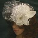 FASCINATOR  - PIN-UP esküvői kalapka , Ruha, divat, cipő, Esküvő, Hajdísz, ruhadísz, Menyasszonyi ruha, Hófehér cukiság:  egyedi koktél-kalapka menyasszonyoknak sok-sok kézimunkával és szeretettel...  Kön..., Meska
