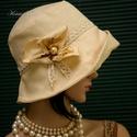 DERBY - elegáns design-kalap, Ruha, divat, cipő, Női ruha, Kendő, sál, sapka, kesztyű, Sapka, Gyönyörű vajszínű pamut-shantungból terveztem ezt az 1920-as évek flapper stílusú  modellemet.  Anti..., Meska