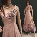 VALERIE - designruha XL, Ruha, divat, cipő, Női ruha, Estélyi ruha, Esküvői ruha, Különleges megjelenésű modellemet púderes mályva-színre festettem.  Anyaga selymes felületű..., Meska