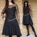 TIMY - fekete taftruha, Ruha, divat, cipő, Női ruha, Estélyi ruha, Ruha, Ezt a csinos, romantikus ruhácskát szénfekete taftból készítettem.  Pánt nélküli, raffolt derekú, ci..., Meska