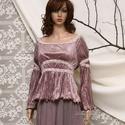 LYDIA - mályva plüss-felső, Ruha, divat, cipő, Női ruha, Felsőrész, póló, Romantikus blúzocska vékony, elasztikus pliszés plüssből, bősége fehérnemű-csipkével összehúzva-kere..., Meska