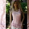 RÓZSA - design csipketop, Ruha, divat, cipő, Esküvő, Női ruha, Blúz, Egy különleges darab a romantika jegyében! Rózsaszínnel átmenetesen kézzel festett, gyöngyözött , ex..., Meska