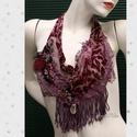 VERONA / bordó - art to wear textilékszer, Ruha, divat, cipő, Képzőművészet, Női ruha, Textil, Artisztikus, puha, lazán omló textilkollázs, stílusos kézzel festett selyem textilékszer extravagáns..., Meska