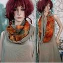 ÉKSZER-SÁL / narancs-keki selyem-muszlin körsál, Ruha, divat, cipő, Női ruha, Kendő, sál, sapka, kesztyű, Sál, Őszies színvarázs: Narancsos viszkóz-selyemből és keki-zöld muszlinból készült  möbiusz-csősál stras..., Meska