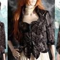 DIANA / orient mokka -design kabátka, Ruha, divat, cipő, Női ruha, Kabát, Különleges design-textilből -tüllborítású, applikált pamutvászonból-terveztem ezt a kedvelt fazonom...., Meska