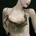 VERONA / jade - art to wear textilékszer, Ruha, divat, cipő, Képzőművészet, Női ruha, Textil, Artisztikus, puha, lazán omló textilkollázs, stílusos kézzel festett selyem textilékszer extravagáns..., Meska