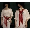 VERONA / ékszersál- art to wear textilékszer, Ruha, divat, cipő, Képzőművészet, Női ruha, Textil, Artisztikus, puha, stílusos kézzel festett selyembársony ékszer-sál extravagáns Nőknek!  A vele fotó..., Meska