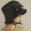 FRIDA cloche - antikselyem flapper-kalap, Ruha, divat, cipő, Kendő, sál, sapka, kesztyű, Sapka, Női ruha, A különleges kalapok szerelmeseinek ajánlom ezt az 1920-as évek stílusában tervezett  kalapocskám.  ..., Meska
