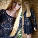 CSIPKERUHA - Lolita stílusú design-ruha, Ruha, divat, cipő, Női ruha, Ruha, Csodaszép barokkmintás sötétkék csipkéből készítettem ezt a bájos, csónaknyakú, hosszú ujjú modellem..., Meska