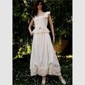 """MILLENIUM II - romantikus design-ruha, Esküvő, Táska, Divat & Szépség, Női ruha, Ruha, divat, Esküvői ruha, """"Régimódi"""" stílusú rusztikus pamutvászon kétrészes, ami akár ALTERNATÍV MENYASSZONYI ruhának is megf..., Meska"""