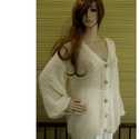 SZOFI/ivory - exkluzív selyem-mohair kardigán- kézzel kötött, Táska, Divat & Szépség, Ruha, divat, Női ruha, Kabát, Poncsó, Luxus-minőségű selyem-kid- mohair-fonalakból divatosan lazán kötött alkalmi kardigán.  Színe: törtfe..., Meska