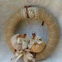 Romantikus  tököcskés őszi koszorú, Baba-mama-gyerek, Dekoráció, Mindenmás, Otthon, lakberendezés, Varrás, Saját tervezésű, 25 cm átmérőjű őszi koszorúmat fahéj szárú  textil tököcskékkel és csipkével díszí..., Meska