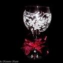 Boros kehely vagy mécsestartó gravírozott virágos mintával, Dekoráció, Dísz, Legyen egyedi, személyre szabott, különleges az ajándéka, születésnapra, névnapra, esküvőr..., Meska
