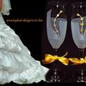 Kálás, szerelmes, gravírozott pezsgőspoharak, Esküvő, Képzőművészet, Nászajándék, Üvegművészet, Gravírozás, Csodaszépek  pezsgős poharak,  amiken kálák díszlenek.  A virágokat gravírozott technikával készíte..., Meska