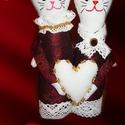ÖLELKÉK-Csurmi és Cirmi a szerelmes textil cicapár, Dekoráció, Otthon, lakberendezés, Szerelmeseknek, Esküvő, Két szerelmes, Ölelke, akik házassági évfordura, Valentinra, esetleg esküvőre is ajándékozhatók.  A ..., Meska