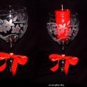 Mécsestartó vagy pohár-gravírozott boros kehely, Otthon, lakberendezés, Dekoráció, Képzőművészet, Gyertya, mécses, gyertyatartó, Gravírozás, Üvegművészet, Négy dl-es boros kehely virágos gravírozott mintával . Piros üvegfestékkel apró pöttyöket tettem a ..., Meska