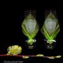 Tavaszi lélek wellness - tulipános páros , pezsgős poharak, Esküvő, Szerelmeseknek, Nászajándék, Gravírozás, Üvegművészet, Páros pezsgős poharak, gravírozott tulipán mintával. Egy romantikus tavaszi estén egy üveg pezsgő m..., Meska
