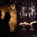Szíves-páros,pezsgős, gravírozott poharak, Esküvő, Szerelmeseknek, Konyhafelszerelés, Nászajándék, Gravírozás, Üvegművészet, Különleges ünnepek mindig vannak az ember életében amit nagyon vár és izgalommal készülődik rá.  Eg..., Meska