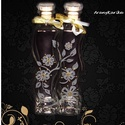 Hullám alakú, szerelmes, gravírozott üvegek, Szerelmeseknek, Férfiaknak, Sör, bor, pálinka, Gravírozás, pirográfia, Ez a két egymásba hajló üveg a romantika jegyében született meg... A kettő deciliteres üvegekre vir..., Meska