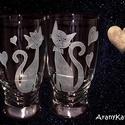Gravírozás-páros, üdítős poharak, szerelmes cicákkal, Konyhafelszerelés, Szerelmeseknek, Férfiaknak, Bögre, csésze, Cicakedvelő lévén, most a Valentin nap közeledtével, egy páros üdítős szettet kínálok pá..., Meska