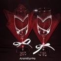 Gravírozás-pezsgős, páros poharak, szíves mintával, Esküvő, Szerelmeseknek, Két pezsgős pohárra gravírozott szíves mintát terveztem. A minta köré gyöngyház színű vízállóra szár..., Meska