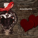 Gravírozott,szív alakú üveg-szerelmeseknek, Szerelmeseknek, Kedves, apróság lehet egy bocsánatkérésnél vagy egy Valentin napi köszöntőnél, esetleg születésnapná..., Meska