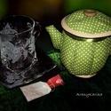 Liliomos teás szett és textil teás kancsó, Konyhafelszerelés, Bögre, csésze, Kancsó , Varrás, Gravírozás, pirográfia, Ha különleges, egyedi és ráadásul személyre szóló ajándékkal akarsz kedveskedni a barátnődnek, roko..., Meska