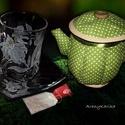 Liliomos teás szett és textil teás kancsó, Konyhafelszerelés, Bögre, csésze, Kancsó , Ha különleges, egyedi és ráadásul személyre szóló ajándékkal akarsz kedveskedni a barátnődnek, rokon..., Meska