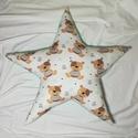 Menta macis csillagpárna, Otthon, lakberendezés, Lakástextil, Párna, Nagyon jó minőségű pamutvászon az eleje amin macik vannak és menta csillagok  így a menta minky lett..., Meska