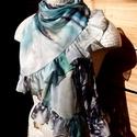 Tengerkék-haragos zöld fodros muszlin sál, Ruha, divat, cipő, Kendő, sál, sapka, kesztyű, Sál, Női ruha, Varrás, A 15000 Ft feletti ingyen postázás nem vonatkozik minden termékre!!! Kérlek olvasd el ezzel kapcsol..., Meska